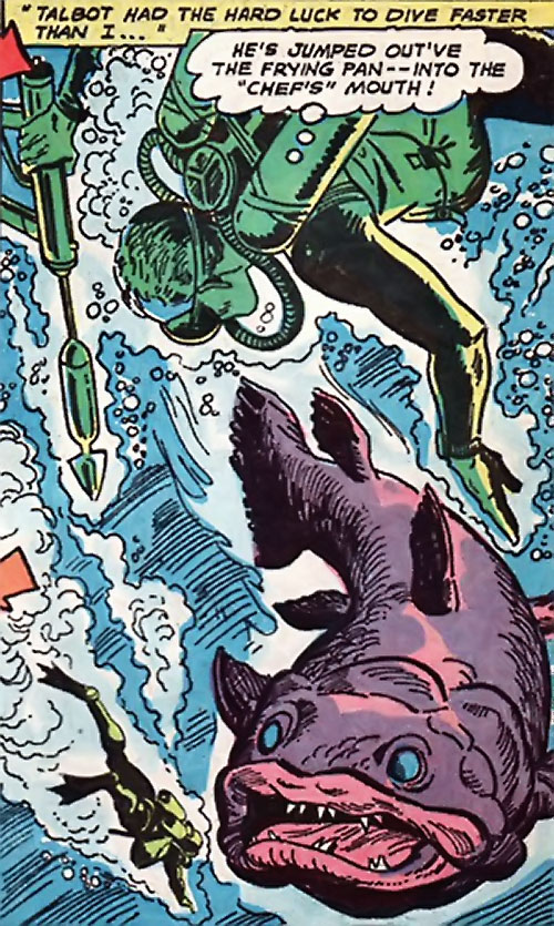 War that time forgot (DC Comics) - combat divers vs. a giant fish