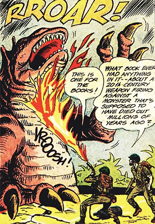 War that time forgot (DC Comics) - marines attacking a dinosaur with a flamethrower