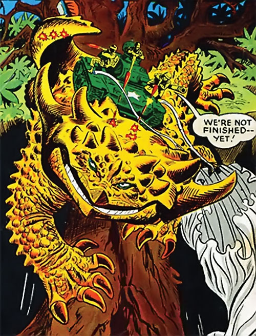 War that time forgot (DC Comics) - tank on the back of a giant lizard