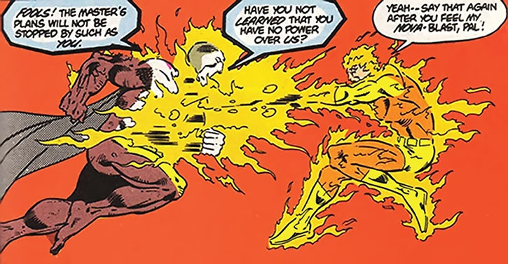 Sun Boy (Dirk Morgna) attacks a servant of Darkseid