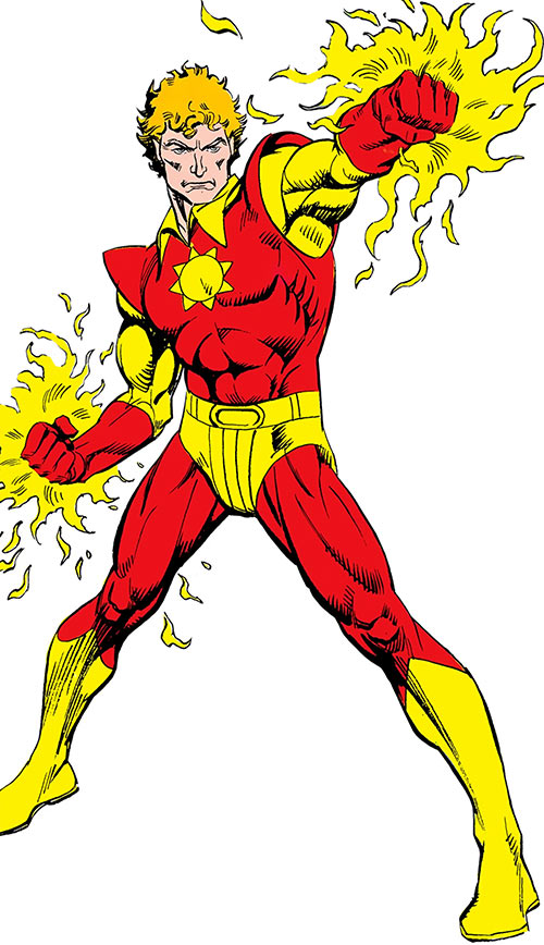 Sun Boy of the Legion of Super-Heroes (pre-reboot DC Comics) with fists burning