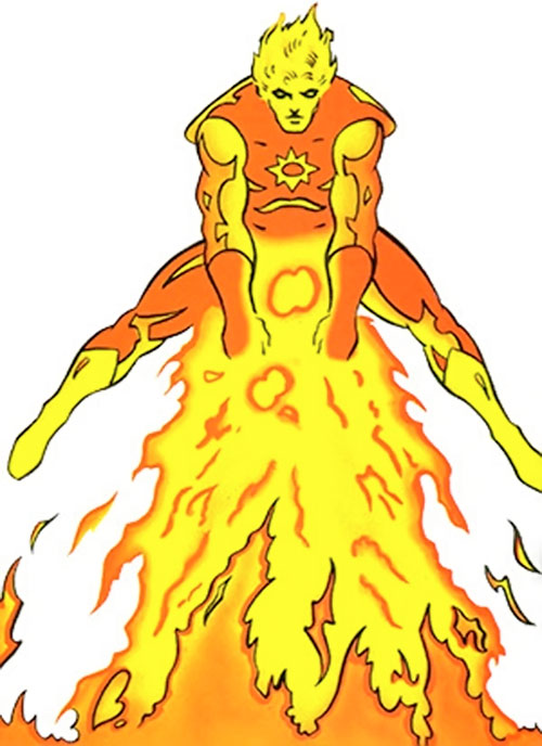 Sun Boy of the Legion of Super-Heroes (pre-reboot DC Comics) red hot and shooting a stream of flames