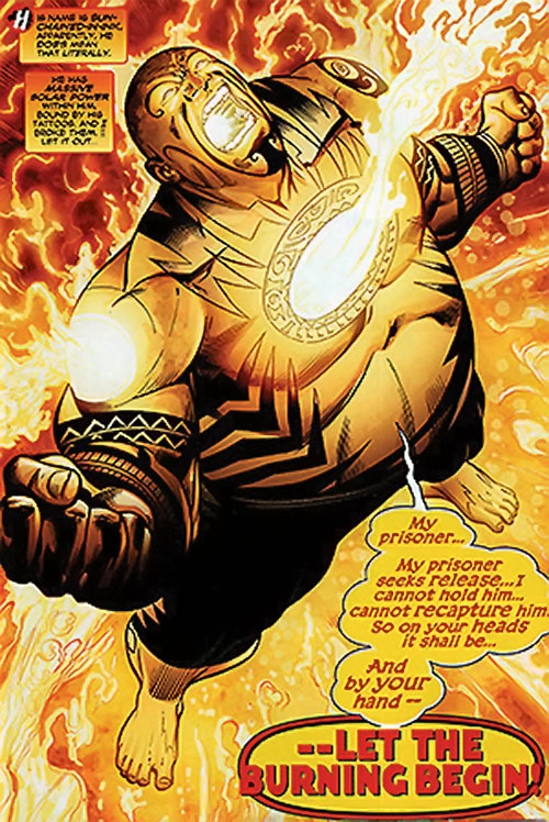 Sun-Chained-in-Ink of the Dreambound (DC Comics Trinity) burning up