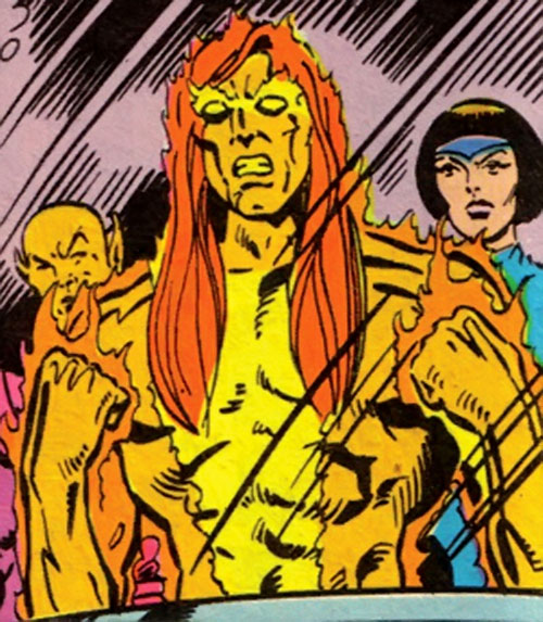 Sun Emperor (Legion of Super-Heroes enemy) (DC Comics) with Esper Lass and Chameleon Chief