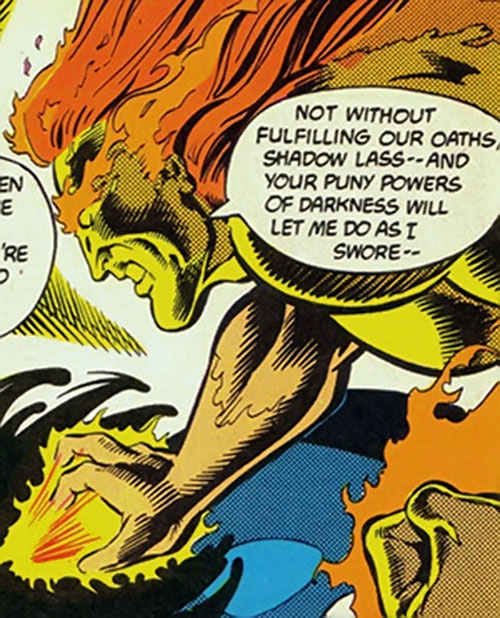 Sun Emperor (Legion of Super-Heroes enemy) (DC Comics) shoots the darkness
