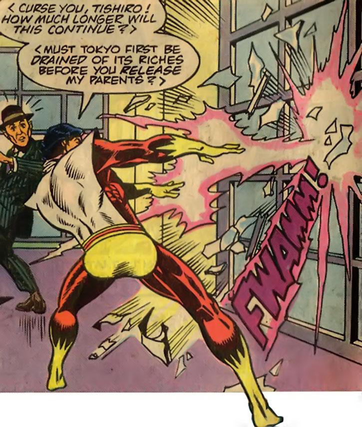 Sunburst (Takeo Sato) blasts a wall