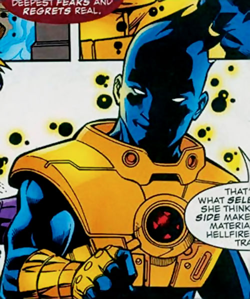 Sunspot (X-Force era) (Marvel Comics) with a technological harness
