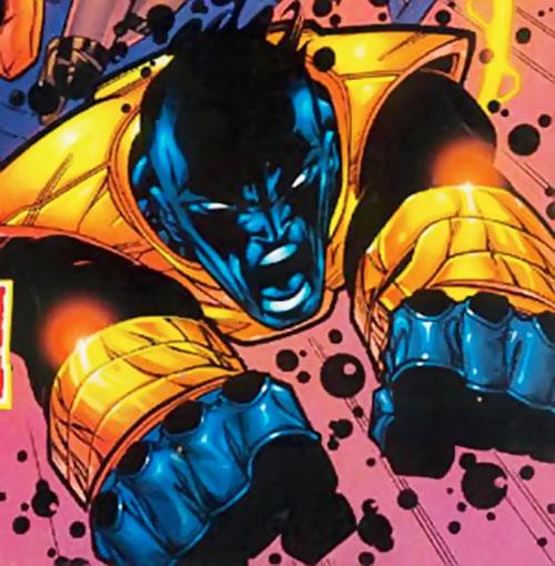 Sunspot (X-Force era) (Marvel Comics) flying into the fray