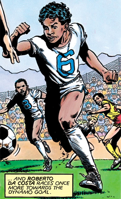 Sunspot of the New Mutants (Marvel Comics) (Earliest) playing soccer