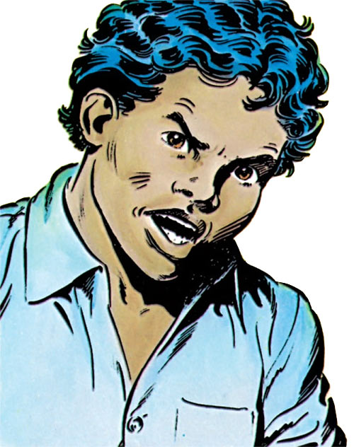 Sunspot of the New Mutants (Marvel Comics) (Earliest) face closeup angry