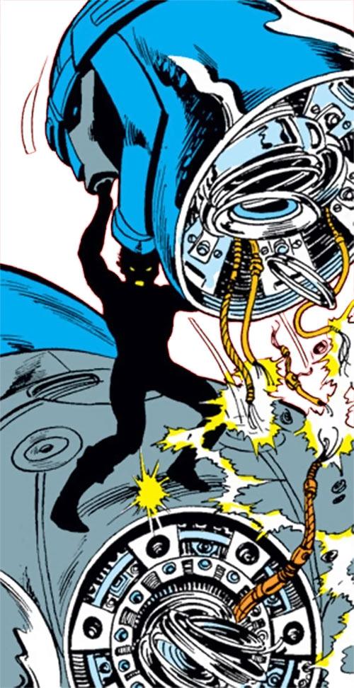 Sunspot of the New Mutants (Marvel Comics) (Earliest) ripping off a Sentinel robot's head