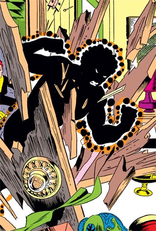 Sunspot of the New Mutants (Marvel Comics) (Earliest) crashing through a door