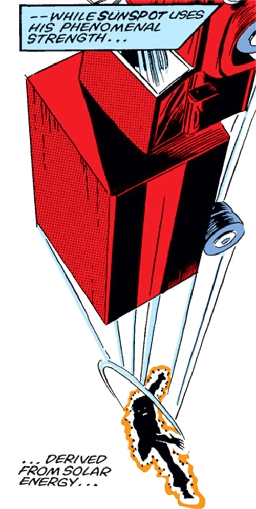 Sunspot of the New Mutants (Marvel Comics) (Earliest) throwing a truck