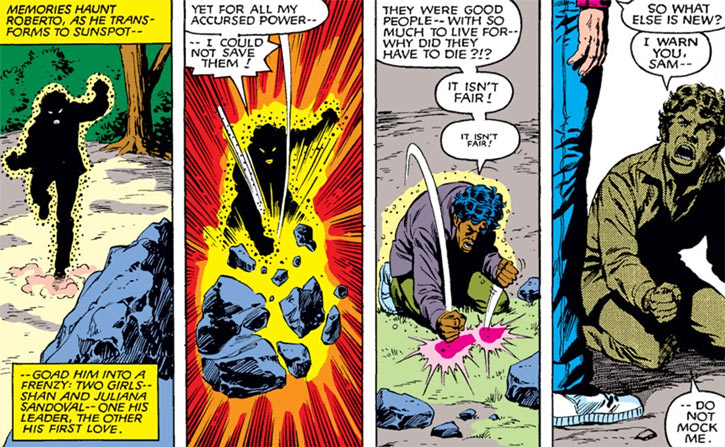 Sunspot of the New Mutants (Marvel Comics) (Earliest) smashing a rock in anger