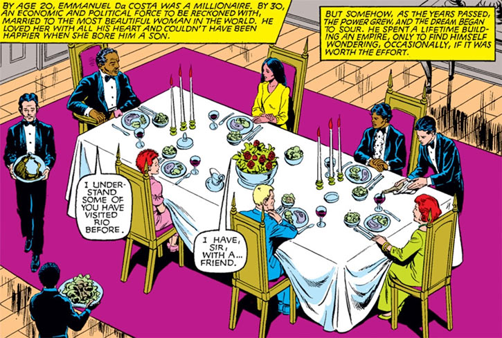 Sunspot of the New Mutants (Marvel Comics) (Earliest) with his parents and friends, formal dinner