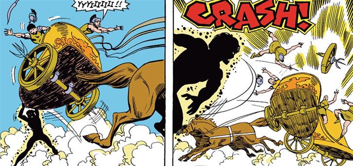 Sunspot of the New Mutants (Marvel Comics) (Earliest) against a Roman chariot