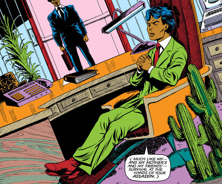 Sunspot of the New Mutants (Marvel Comics) (Earliest) with a green business suit