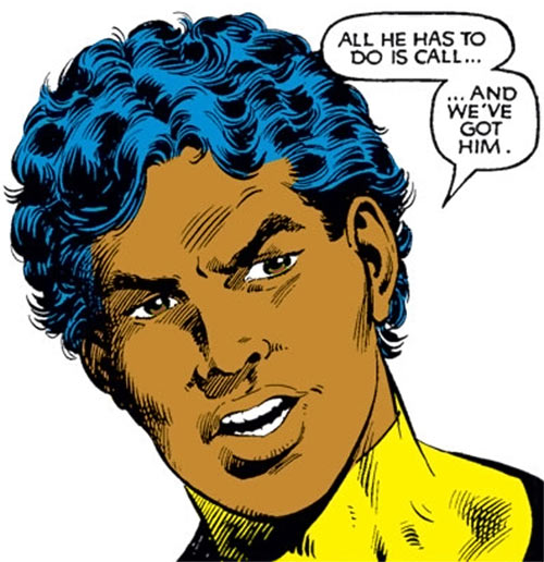 Sunspot of the New Mutants (Marvel Comics) (Earliest) face closeup talking