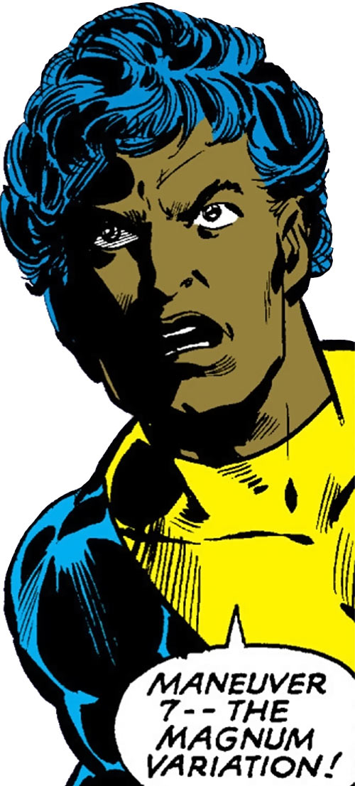Sunspot of the New Mutants (Marvel Comics) (Early) face closeup yelling