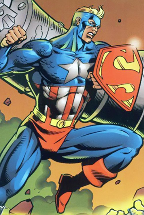 Super-Soldier (Amalgam of Captain America and Superman) with shield up