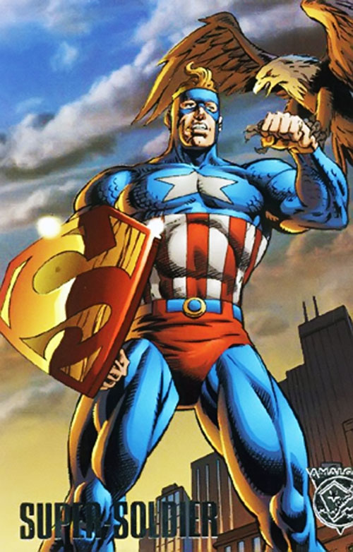 Super-Soldier (Amalgam of Captain America and Superman) in a patriotic pose