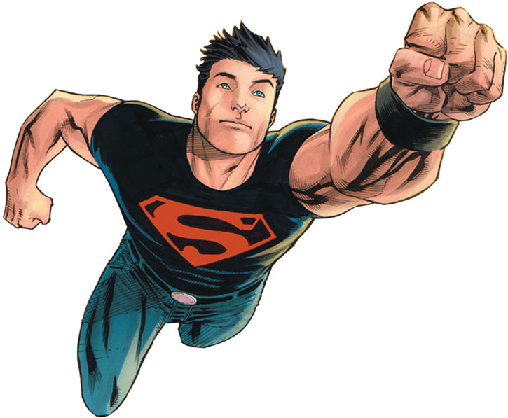 Superboy flying fist first on a white background, By Manapul