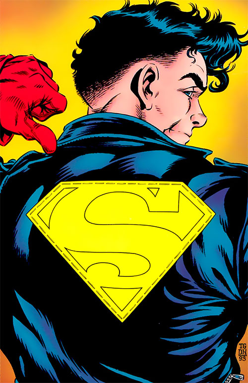 Superboy as the Metropolis Kid showing his back logo