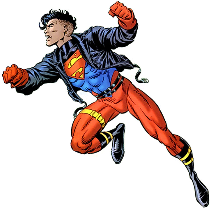 Superboy flying on a white background, in his Metropolis Kid costume