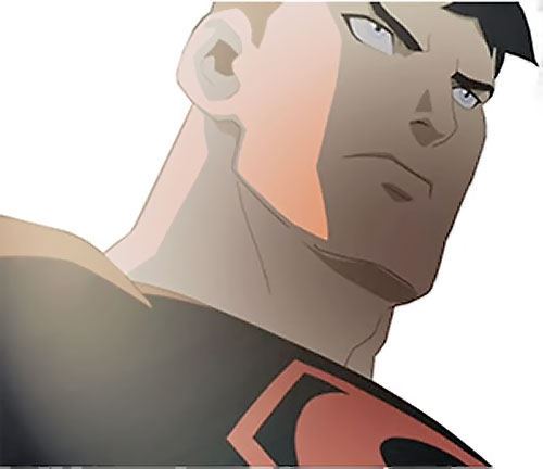 Superboy (Young Justice cartoon TV series) low angle face closeup