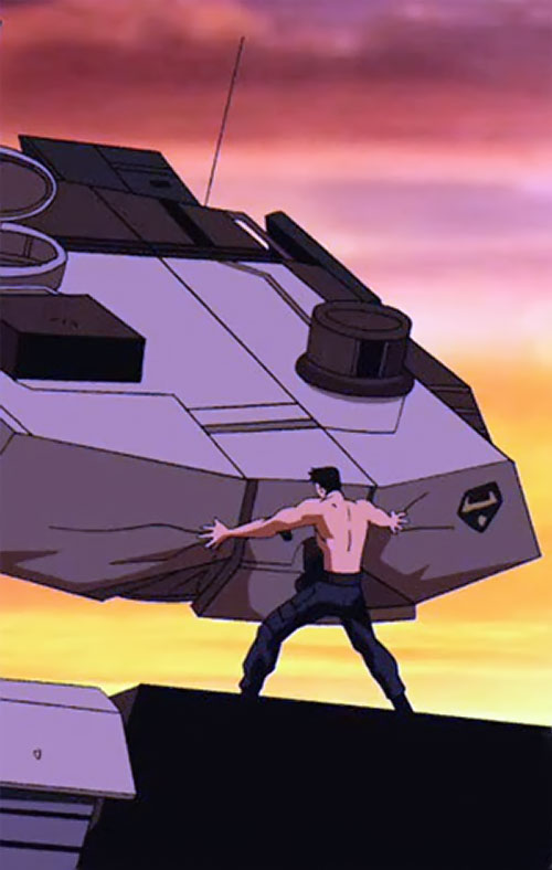 Superboy (Young Justice cartoon TV series) demolishing a tank
