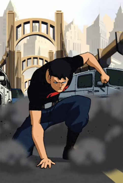 Superboy (Young Justice cartoon TV series) on a bridge