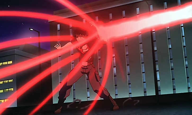 Superboy (Young Justice animated series) blocks an energy beam with his forearm