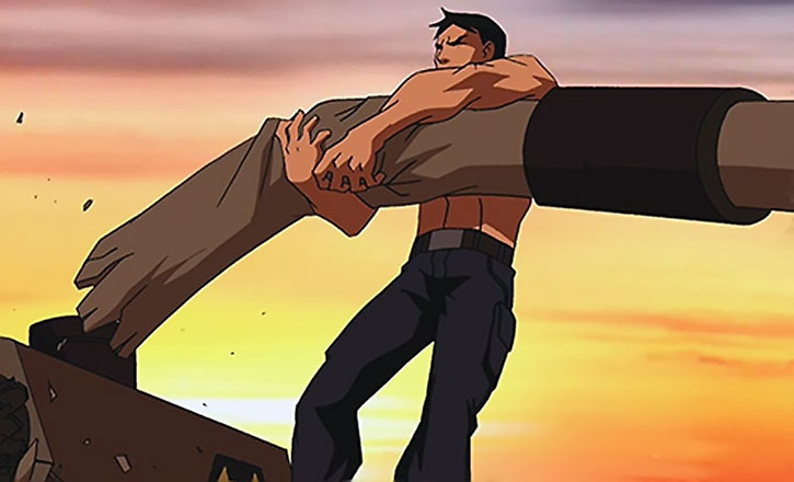 Superboy (Young Justice animated series) destroys a tank gun