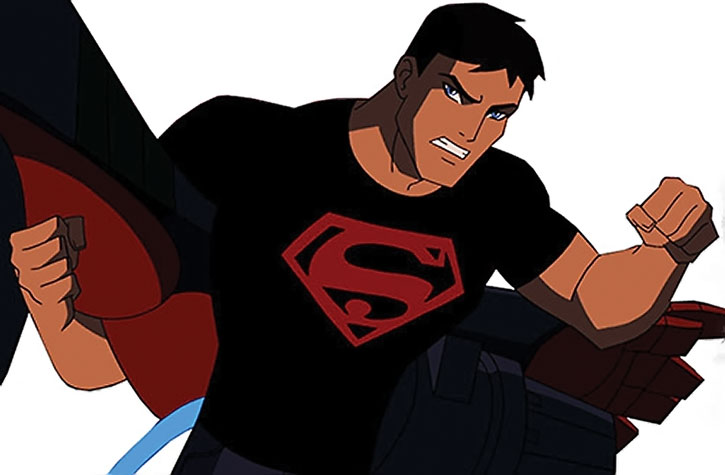 Superboy (Young Justice animated series) wrestles a robot
