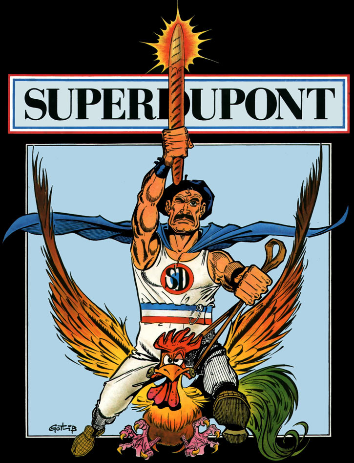 Superdupont by Gotlib, with rooster and baguette