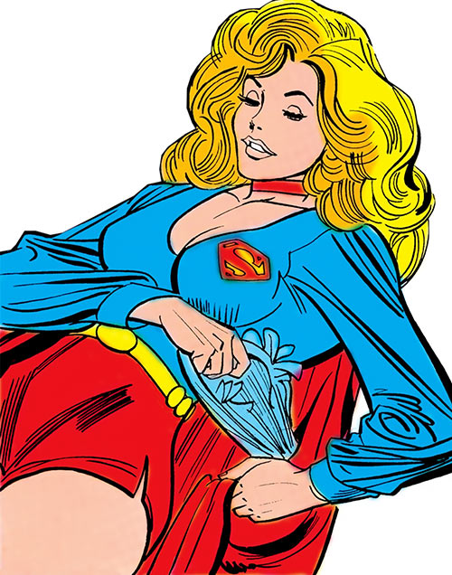 Supergirl (Linda Danvers) (DC Comics) with the short shorts using her cape pocket