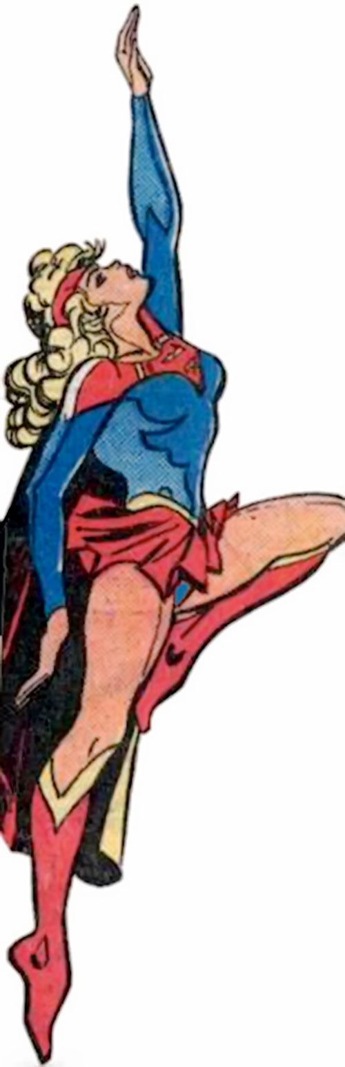 Supergirl (Linda Danvers) (DC Comics) flying up with skirt and headband