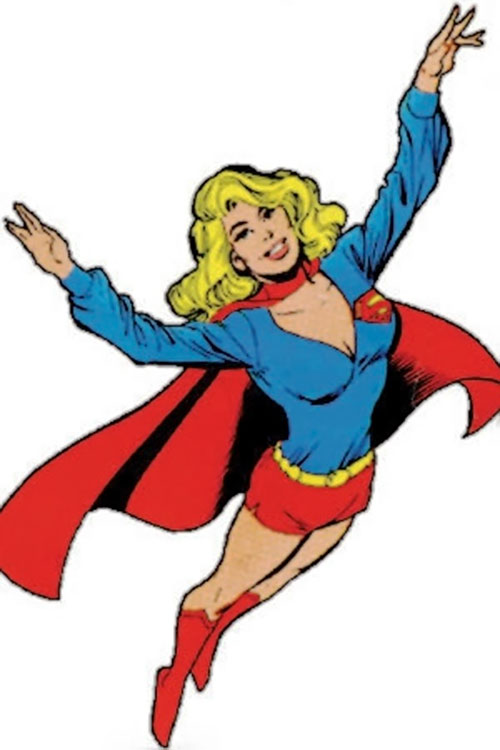 Supergirl (Linda Danvers) (DC Comics) flying and smiling promotional art