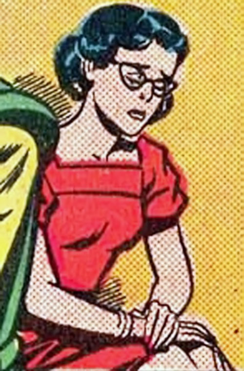Supermaid (Superman's daughter) (DC Comics) out of costume, looking sad