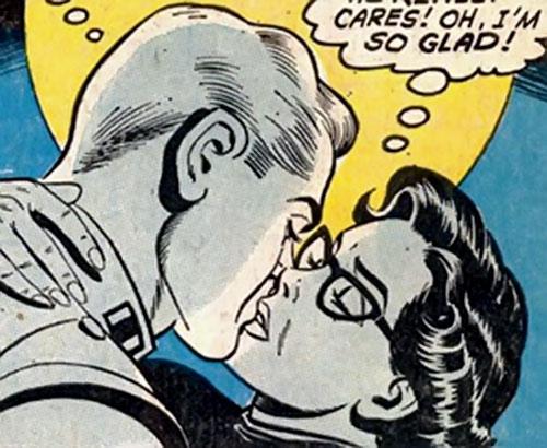 Supermaid (Superman's daughter) (DC Comics) kissing Olsen