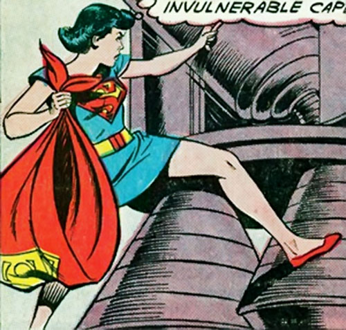 Supermaid (Superman's daughter) (DC Comics) using her super-cape