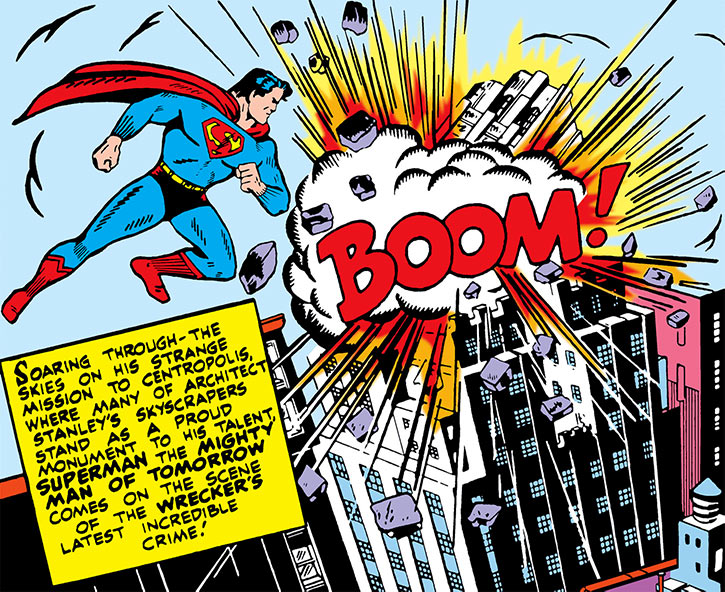 Superman sees a skyscraper explode in 1942