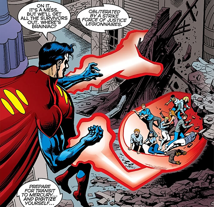 Superman 1M uses his telekinesis to rescue survivors