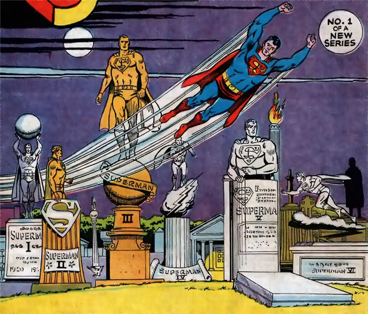 Superman of 2465 flying over the tombs of his predecessors
