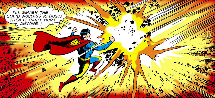 Superman of 2465 smashing meteorites (DC Comics)