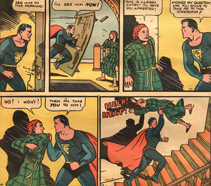 Early art of Superman - invading the governor's house