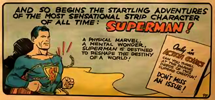 Early art of Superman - announcing his first appearance