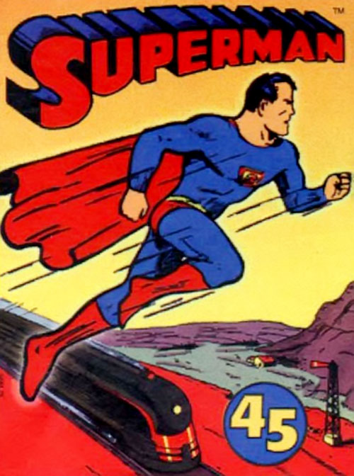 Very early Superman Chronicles 1938-1939 (DC Comics) soaring above a train