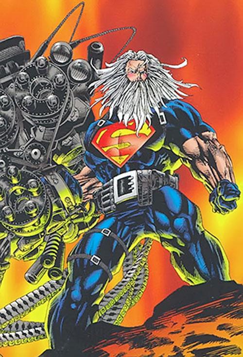 Superman holding a ludicrous gun