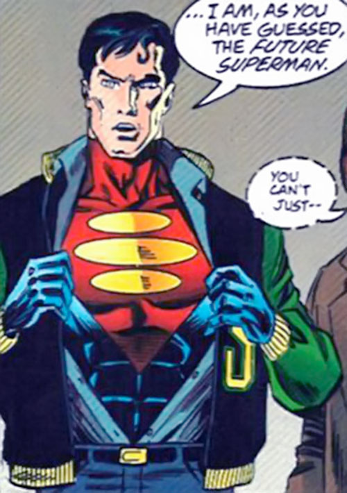 Superman One Million (DC Comics) revealing his costume
